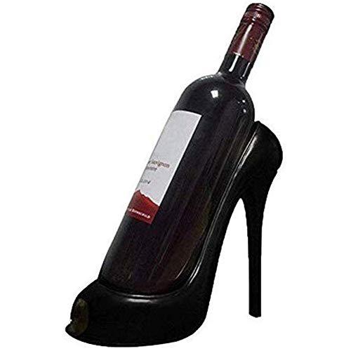 Botellero para copas de vino, estante pequeño para vino, estante para vino, superficie de trabajo – estilo de tacón alto – Decoración decorativa – blanco y negro