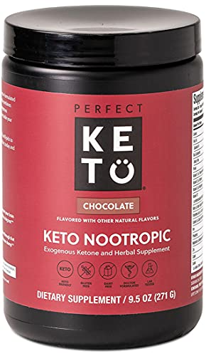 Perfect Keto Nootropic Brain Supplement: Enhance Focus and Energy, Boost Concentration, Improve Memory and Clarity - MCTs, Ketones, L-theanine, Ginkgo Biloba, Cat's Claw, Alpha Lipoic Acid, and GPC