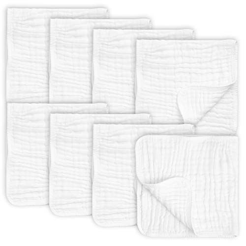 8 Pack Muslin Burp Cloths Large 20' by 10' 100% Cotton, Hand Wash Cloth 6 Layers Extra Absorbent and Soft