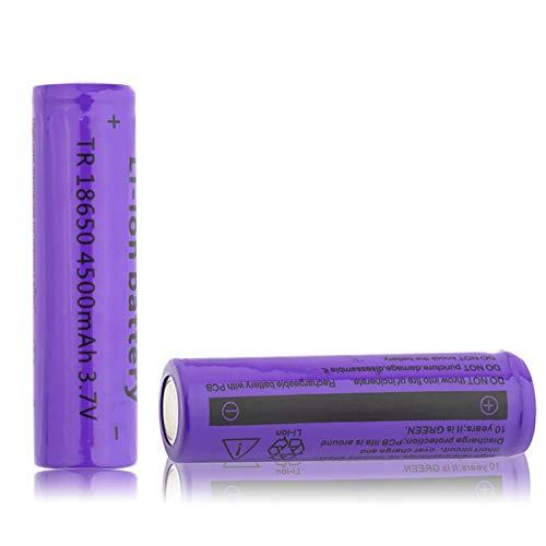 softpoint Batería 18650, Batería Recargable De Iones De Litio De 3.7 v 4500 Mah para Afeitadora Luz Led Powerbank Control Remoto 2PCS