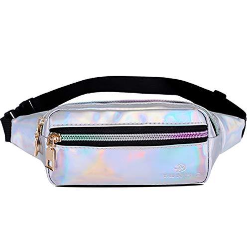 Gürteltasche Damen Bauchtasche Hüfttaschen Fanny Pack Waist Bag für Frauen (Gürteltasche Silber 4)