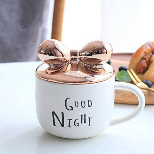 Tazza Boccale Mug Tazzine Tazze da caffè in Ceramica A Forma di Fiocco con Coperchio 400 Ml Amanti Cartone Animato Creativo Tazza di Latte tè Ragazze Regalo di Festa Carino, Nero, 400 Ml