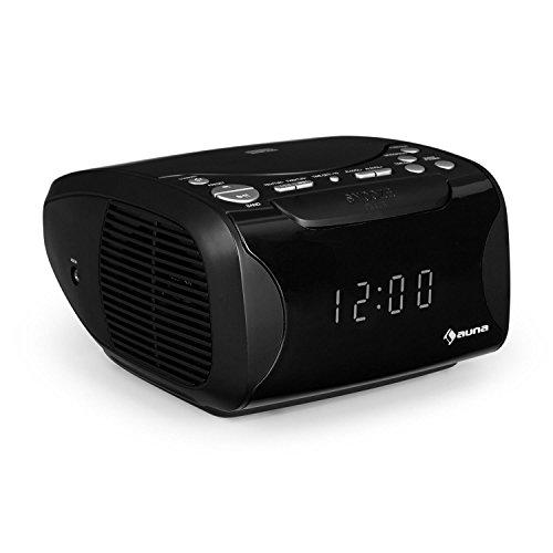 auna Dreamee - Radiowecker, Top-Loading CD-Player, USB, Sleep-Timer, Schlummerfunktion, Dual-Alarm, UKW/MW-Radiotuner, 3,5-mm-Cinch-Klinke-AUX-Eingang, CD-Player, 1 kg, schwarz