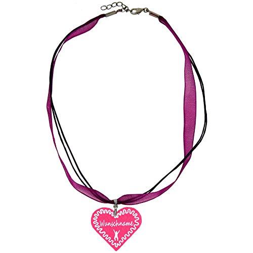 Trachtenschmuck Trachtenkette Organzaband brombeer mit Filz Herz Damen Dirndlkette Organzakette Oktoberfest Wunschaufdruck (Herz - pink)