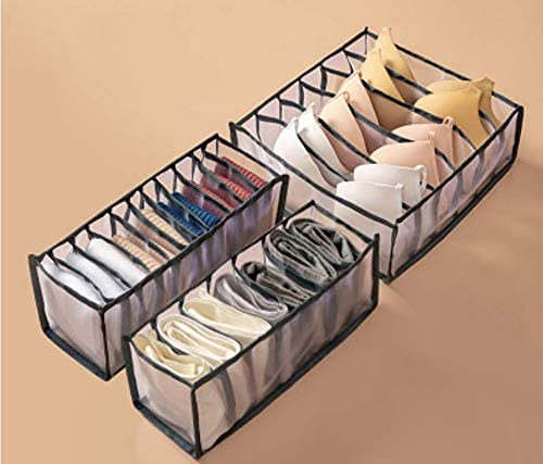 Unterwäsche-Schubladen-Organizer, Set mit 3 Schrank-Trennwänden, Unterwäsche-Aufbewahrung für Socken, BHs, Schals und Krawatten, faltbar, Schwarz