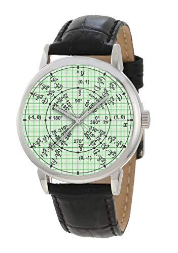 Traditionelle grüne Graph Papier Mathematik Trigonometrie Radian Kreis Wert von Pi; Große 40 mm Präsentations-Armbanduhr