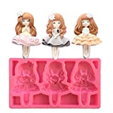 3-Hole Cute Ballet Girl Princess DIY 3D Silicone Mold Making Ice Blocks Candy Fondant Chocolates Soaps Cakes Mousse Jelly Candles Baking