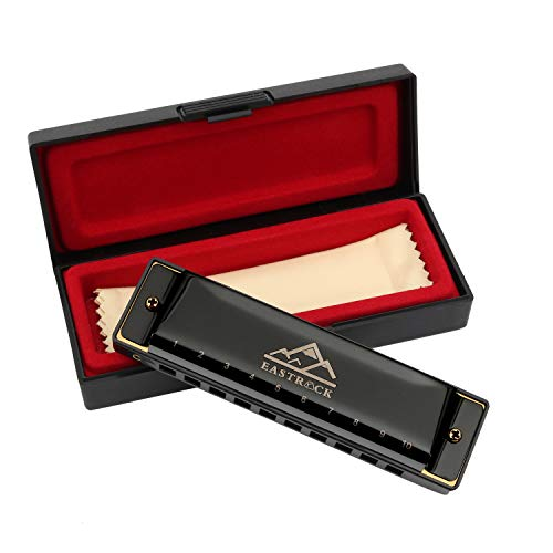 EastRock Mundharmonika C-Dur Harmonica mit Box 10-Loch Mundharmonika für Student, Fortgeschrittene und Anfänger Silber und Schwarz (Schwarz)