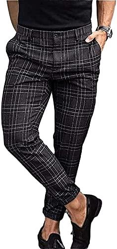 LIUPING Pantalones Casuales para Hombre, Pantalones Ajustados sociales a Cuadros, Cintura Media, Ajustados, de Negocios, Oficina, Trabajo, Fiesta, Verano, elástico para Hombre