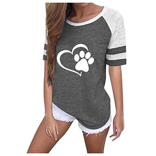 SatinGold Cute Katze Kurzarmshirt Herz Gedruckt T-shirt für Damen, Einzigartiges Oberteile Sommer Kontrastfarbig Bluse Tops mit Gestreift