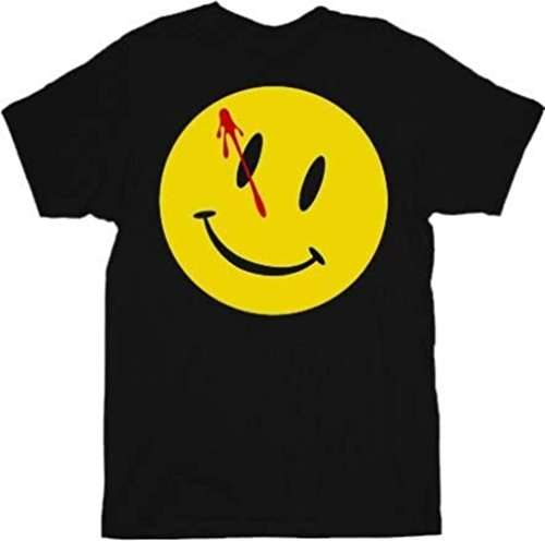 Watchmen Bloody Smiley Face Black Adult T-shirt Tee (Small)