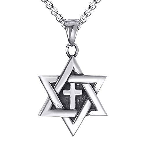 Zaaqio Collar con Colgante de Cruz mesiánica de Estrella de David para Hombre, Acero Inoxidable Chai de 60 cm