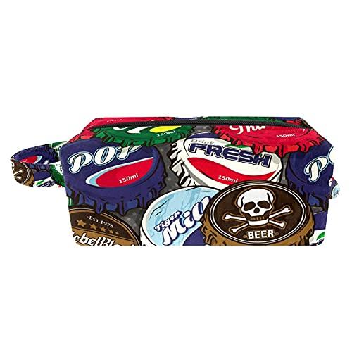 Bolsa de Lavar Bolso de Tocador Hombre Neceseres para Maquillaje Paño de Oxford Bolsa de Cosméticos Durable Bolsa de Lavado Viaje Tapa de Botella de Cerveza 21x8x9 cm
