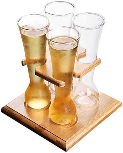 Simplicité Verre De Bière 430ml De Grande Capacité Verre De Whisky avec Support De Vin De Bambou Verre Résistant Chaleur Verre/Boisson Barre De Verre Bar Vin MUMUJIN (Color : Default)