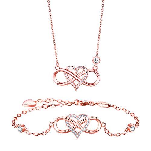 BlingGem Damen Schmuck-Set aus Rosegold vergoldet 925 Sterling Silber Zirkonia Infinity Unendlichkeit Herz Ketten und Armband Geschenk Frauen