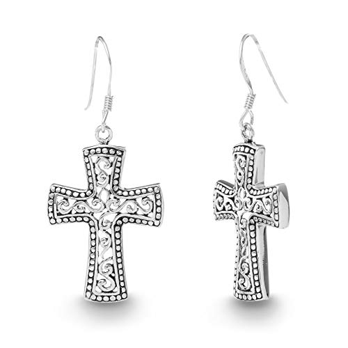 Willowbird Oxidized Sterling Silver Textured Filigree Celtic Cross Dangle French Wire Earrings for Women (Cross)
