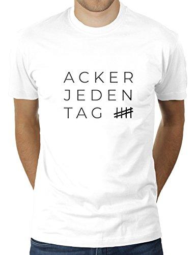 Acker Jeden Tag - Herren T-Shirt von KaterLikoli, Gr. S, Weiß