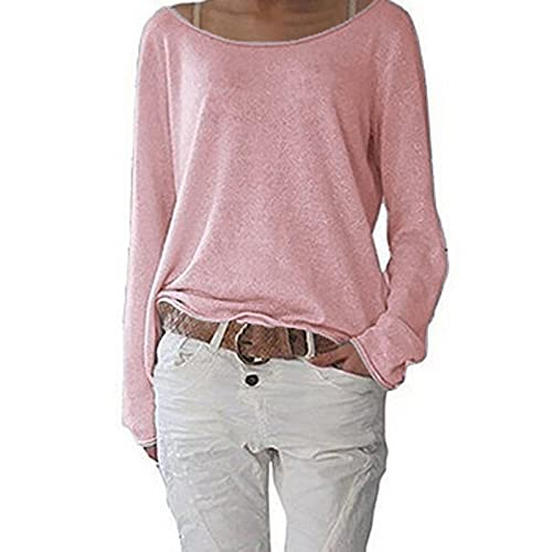 Long Sleeve Shirts for Women 2021 New Slim Basic Lightweight Tops Casual Sweatshirts Loose Pullover Tops T-Shirts Tees Pink