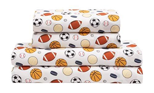 MALLARY BY MATTHEW Kids Super-Soft 100% Microfiber Print Sheet, Sports, Twin