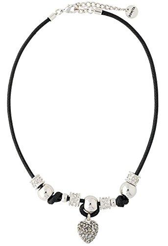 Bonita ketting zwart zilveren look met marcasiet met strasshart - 40-45 cm - art-nr. 1010995 - collectie zomer 2019 - zomer SALE - bij BONITA al uitverkocht!! !