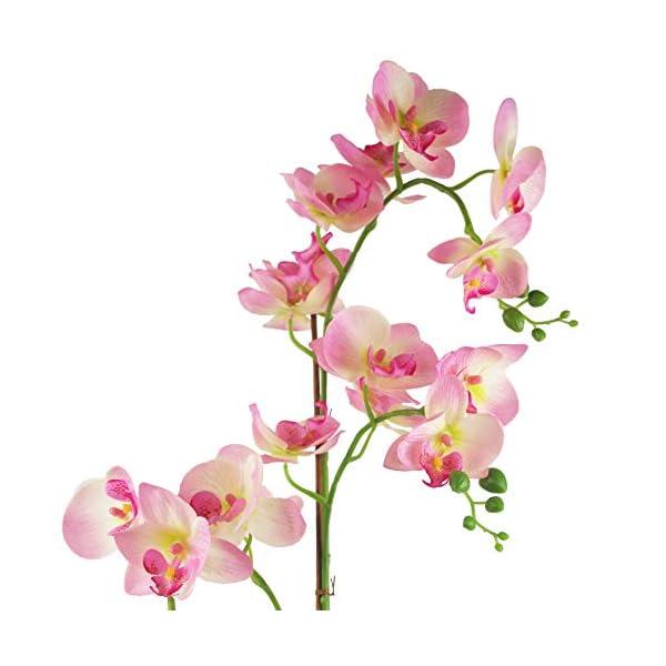 Leaf Orquídea Artificial, Materiales Combinados, Macetero de 70 cm, Color Rosa Claro y Plateado, 70cm Light Pink…