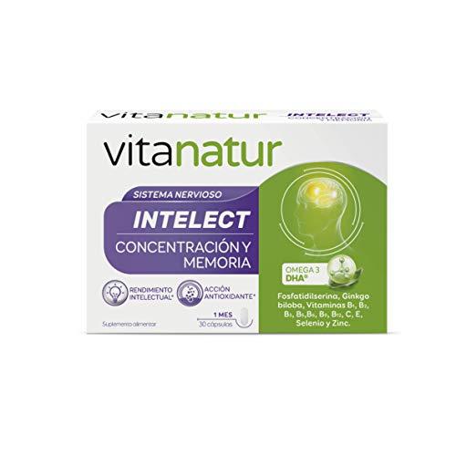 VITANATUR INTELECT 30 Cápsulas - Complemento alimenticio a base de DHA de algas, fosfatidilserina, extracto de ginkgo, 9 vitaminas (B1, B2, B3, B5, B6, B9, B12, C, E) y 2 minerales (Selenio y Zinc)