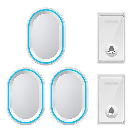 Zelfaangedreven draadloze deurbel, waterdichte draadloze deurbel op afstand, 2-knops zender en 3 plug-in ontvangers met 58 beltonen, volume op 4 niveaus en LED-licht,White
