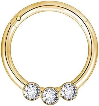 TonyJameJPStore ZS 1PC Brass Septum Piercings 20G Nariz Piercings Nose Rings Daith Piercings Nariz Earrings Conch Rook Piercings Body Jewelry - 8mm - F Gold