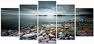 sechars Lake Pictures Wall Art Canvas 5 Panels Colorful Beach Lake Stones Landscape Canvas Painting Lakeside Sunset Artowrk Giclee Prints for Home Bedroom Decorations Framed Ready to Hang