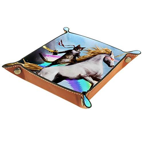 YATELI Caja de Almacenamiento pequeña, Bandeja de Valet para Hombre,Catriding un Unicornio Que escupe Fuego,Organizador de Cuero para Llaves de Caja de Monedas