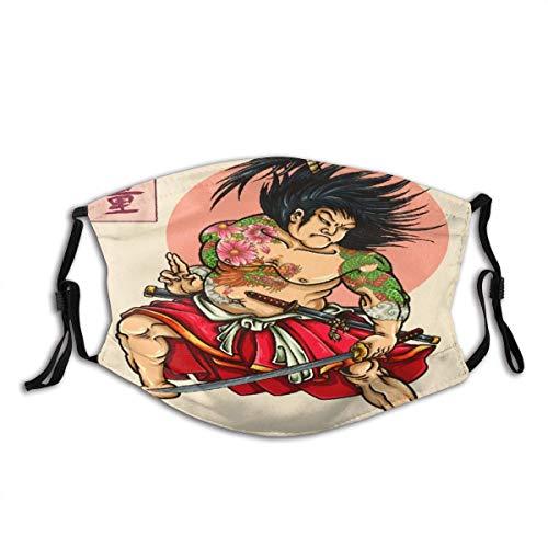 Gesicht Schal Japanische Samurai Hero Tattoo Style Zeichnung Die japanischen Kanji Wörter bedeuten Stärke Sturmhaube Anti-Staub Mund Bandanas mit 2 Filtern