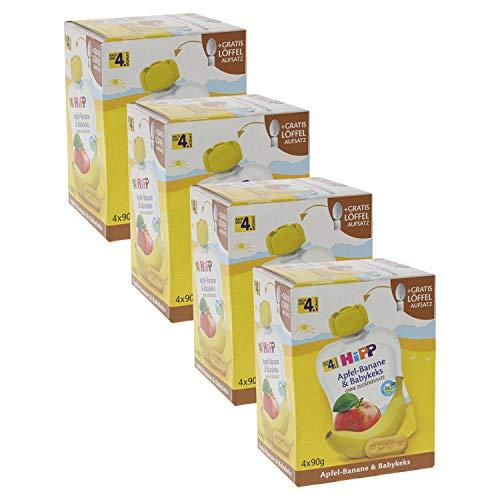 HiPP Quetschbeutel für Babys, Frucht und Getreide, Apfel-Banane mit Babykeks, 100% Bio-Früchte ohne Zuckerzusatz, 4 x 4 Beutel à 90 g