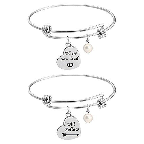 Una mamma per amica - Set di braccialetti per ragazze, con scritta in lingua inglese 'Where You Lead I Will Follow', idea regalo e Acciaio inossidabile, cod. UK-where you lead bracelet