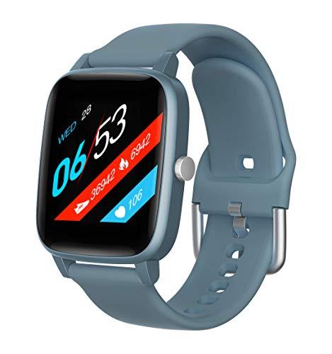 Reloj de Pulsera de Actividad con Monitor de Ritmo cardíaco y sueño, Pulsera Inteligente Impermeable, Contador de calorías, podómetro, Android iOS, Compatible para Mujeres, Hombres, niños (Azul)