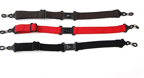 ALL in ONE 3pcs Mixed Color Adjustable Elastic Sport Strap Safety Eyeglasses Retainer: Black, Brown, Red (3pcs Lot)