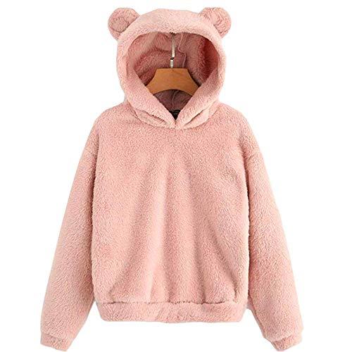 Enfei Frauen Rosa Schöne Mit Bären Ohren Fleece Feste Hoodie Pullover Mädchen Langarm Casual Sweatshirts