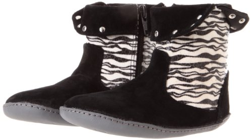 Robeez Mini Shoez Lil Rock Star Boot (Infant/Toddler),Black/Zebra,6-9 Months (3 M US Infant)