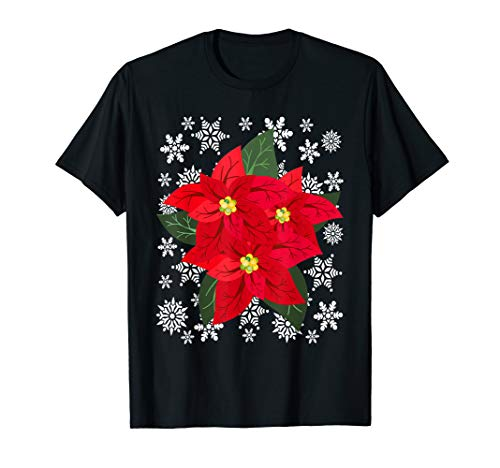 Happy Holidays Poinsettia Flower Snowflakes Merry Christmas T-Shirt