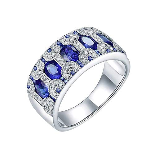 AnazoZ Anillos de Mujer De Zafiros,Anillo Oro Amarillo 14K Mujer Plata Azul Redondo con Oval Zafiro Verde 1.58ct Diamante 0.28ct Talla 13,5