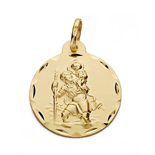 Gold 18k St. Christopher Medaille 22mm. Ich geschnitzt Zaun