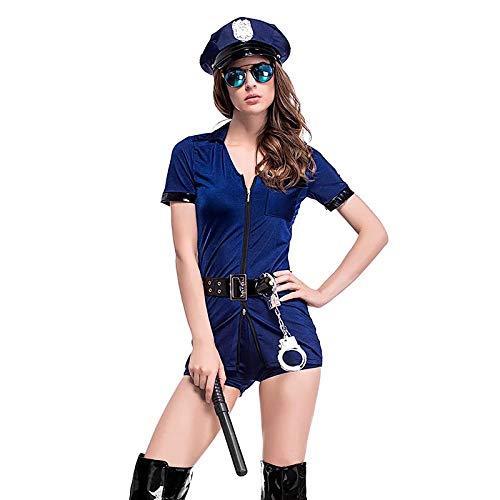 thematys Sexy Disfraz de Oficial de policía de 5 Piezas Conjunto de Disfraces para Damas - Gorra, Gafas de Sol, Palo, Esposas y Vestido Carnaval y Cosplay - una Talla 160-175cm