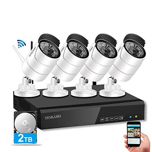 YESKAMO Kit Cámaras de Vigilancia Wifi Exterior 8 Canales con 4 Cámaras Wifi 1080p Full HD y 2.0 Megapíxele, CCTV Cámaras IP de Videovigilancia con Disco Duro de 2TB
