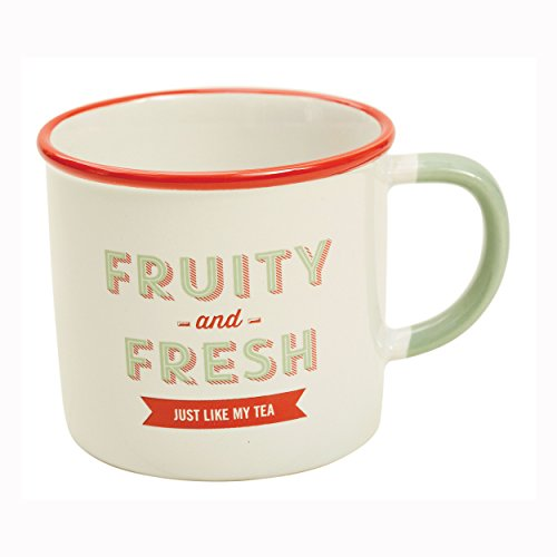 Jamie Oliver 554951 Slogan Mug Fresh & Fruit Coffee Mug Tea Cup Retro Style Ceramic Red/Yellow 300 ml
