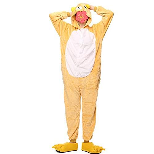 ZJXSNEH Unisexo Comodidad Suave Franela Animales Traje de Dormir Cosplay Ropa de Salón Pijamas Oso Amarillo S