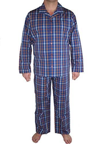 Seidensticker Herren Pyjama lang 157007 Zweiteiliger Schlafanzug, Blau (Mehrfarbig Dunkelblau 803), 106