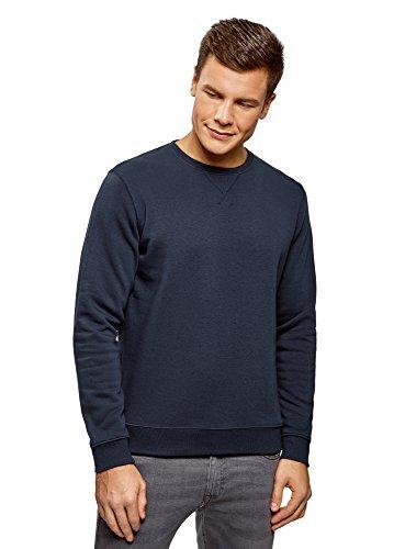oodji Ultra Hombre Suéter Básico con Cuello Redondo, Azul, ES 52-54 / L