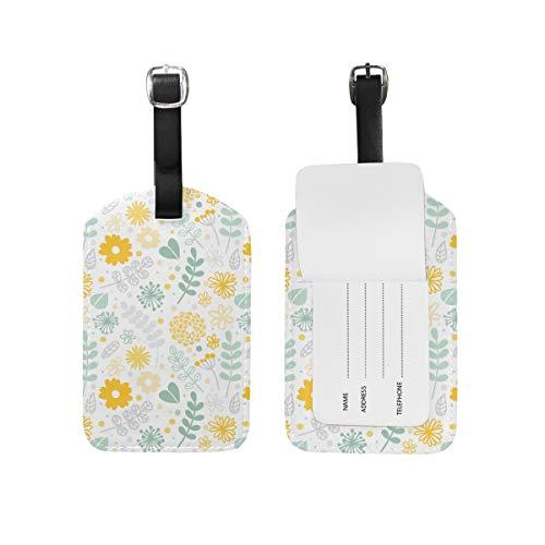 Jeansame Bagage Tag Koffer Label Gepersonaliseerde Lederen Reizen Bagage Tag Land Tuin Madeliefje Lente Vintage Bloemen Bloemen