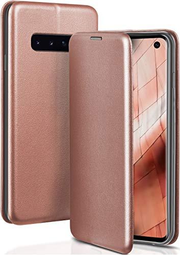 ONEFLOW Handyhülle kompatibel mit Samsung Galaxy S10 - Hülle klappbar, Handytasche mit Kartenfach, Flip Hülle Call Funktion, Klapphülle in Leder Optik, Rosegold