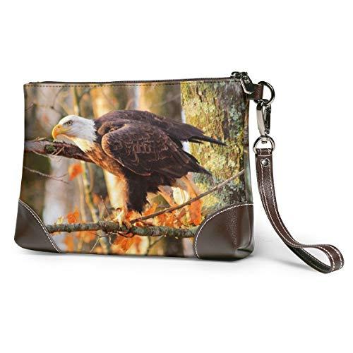 Echt lederen portemonnee voor vrouwen rits rond polsband lange portemonnee vintage reliëf rundleer koppeling kaal Eagle vogel roofdier boomtakken herfst