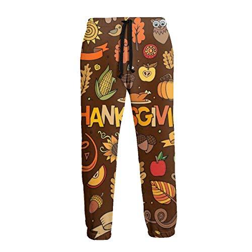 Lewiuzr Thanksgiving Objects Symbols Pantalones Deportivos para Hombre Pantalones Deportivos con Bolsillos